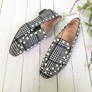 J.  Crew Janie Plaid Loafer with Pearls Size 7 NWT
